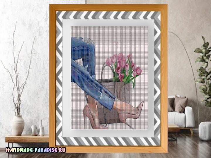 Джинсы и тюльпаны. Схемы вышивки крестом (2)