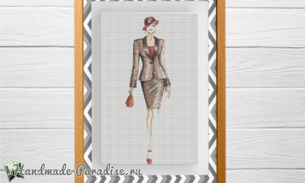Элегантная дама - схемы вышивки крестом