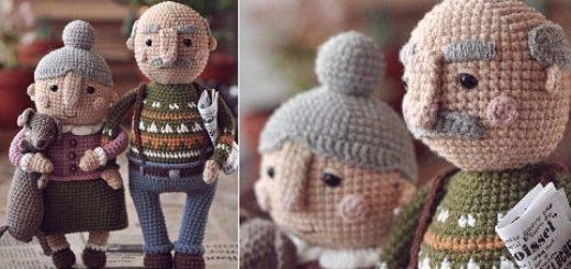 Пожилая семейная пара - куколки крючком (1)