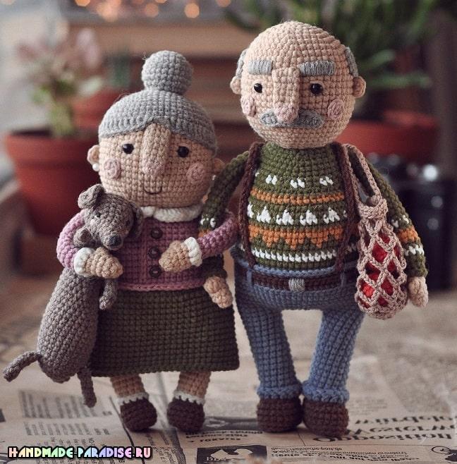 Пожилая семейная пара - куколки крючком (2)