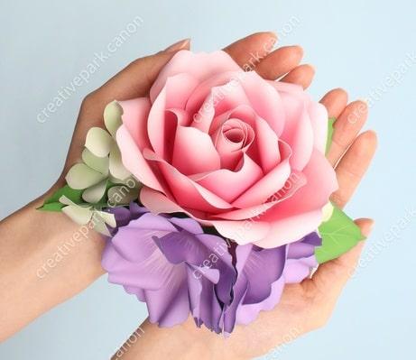 Роза и эустома из бумаги. Цветные шаблоны (1)