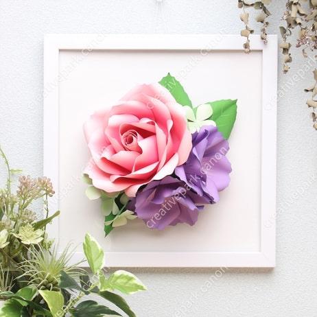 Роза и эустома из бумаги. Цветные шаблоны (2)