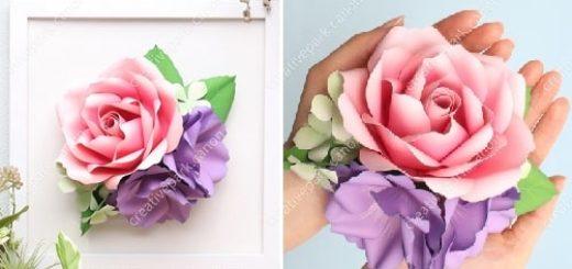 Роза и эустома из бумаги. Цветные шаблоны (3)