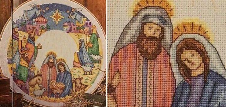 Рождественский вертеп - схемы вышивки крестом (2)