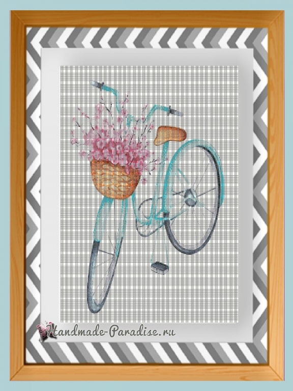 Велосипед с корзиной цветов - схемы вышивки крестом (1)