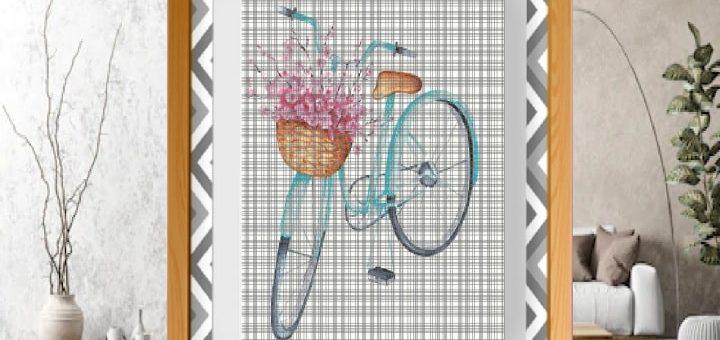 Велосипед с корзиной цветов - схемы вышивки крестом (2)