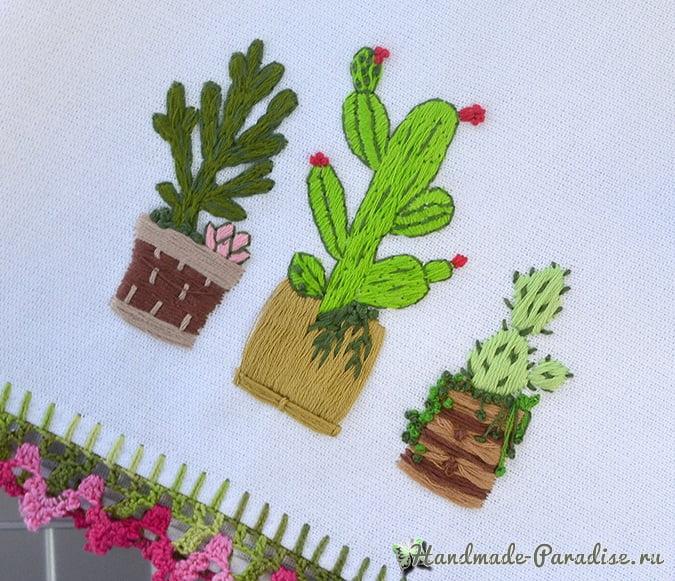 Вышивание кактусов на кухонном полотенце (2)