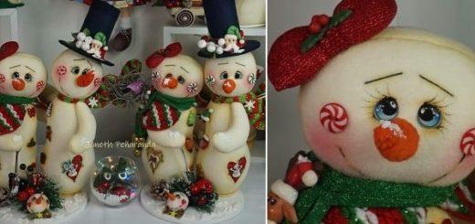 Новогодние снеговики из фетра. Выкройка (2)