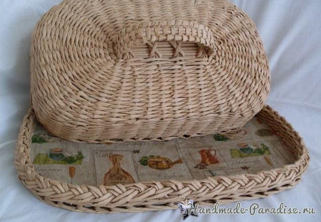 Овальная хлебница из газетных трубочек (3)